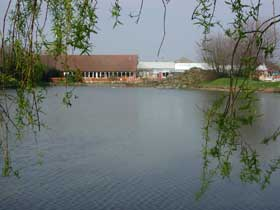 The lake outside Hattie's in Scunthorpe (restaurant building and lakeside patio in background)